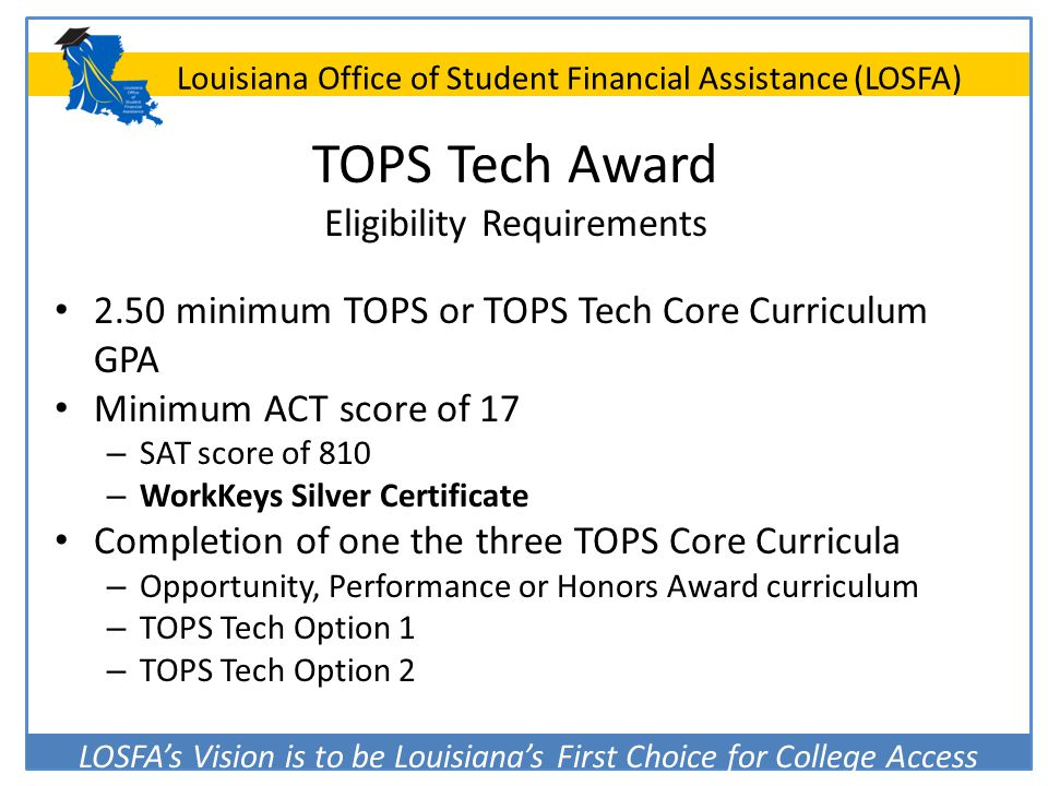TOPS Tech Award Eligibility Requirements