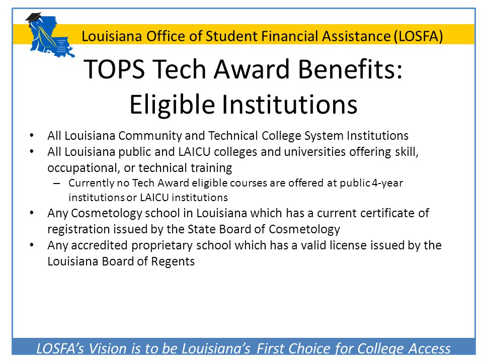 TOPS Tech Award Benefits: Eligible Institutions