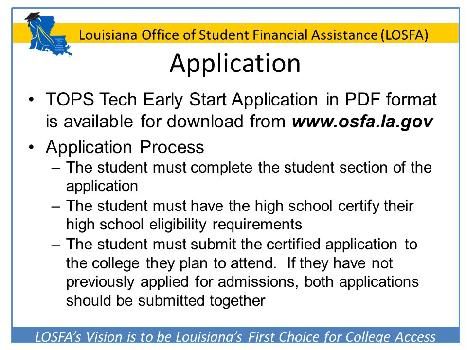 Application TOPS Tech Early Start Application in PDF format is available for download from www.osfa.la.gov.