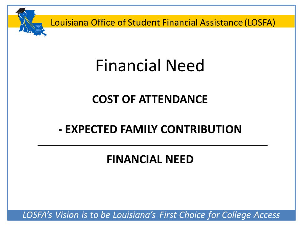 COST OF ATTENDANCE - EXPECTED FAMILY CONTRIBUTION FINANCIAL NEED