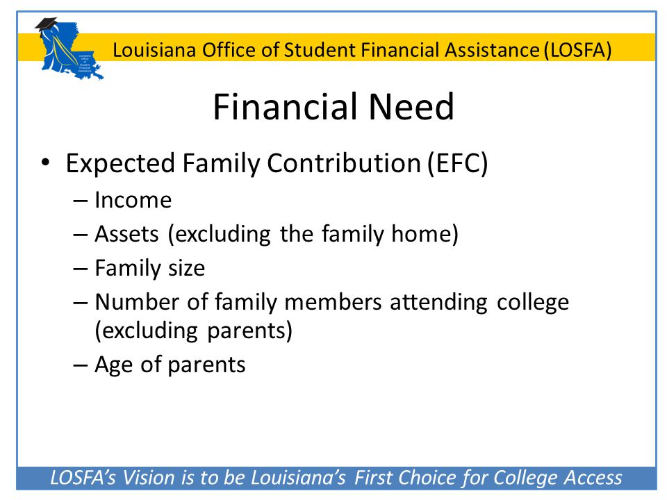 Financial Need Expected Family Contribution (EFC) Income