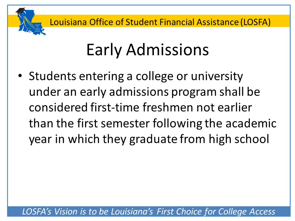 Early Admissions