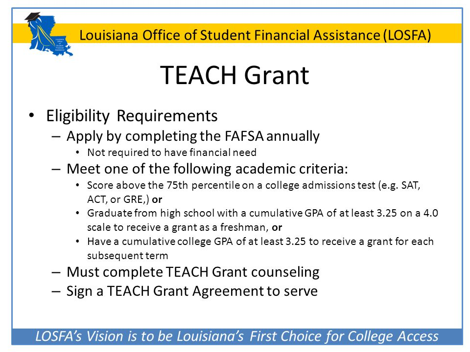 TEACH Grant Eligibility Requirements