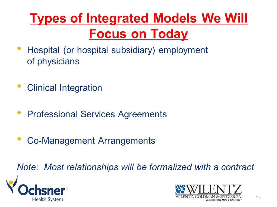 Types of Integrated Models We Will Focus on Today