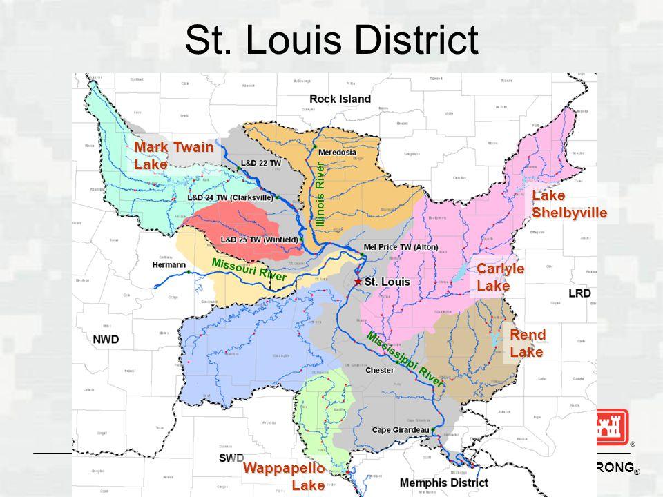 St. Louis District Mark Twain Lake Lake Shelbyville Carlyle Lake