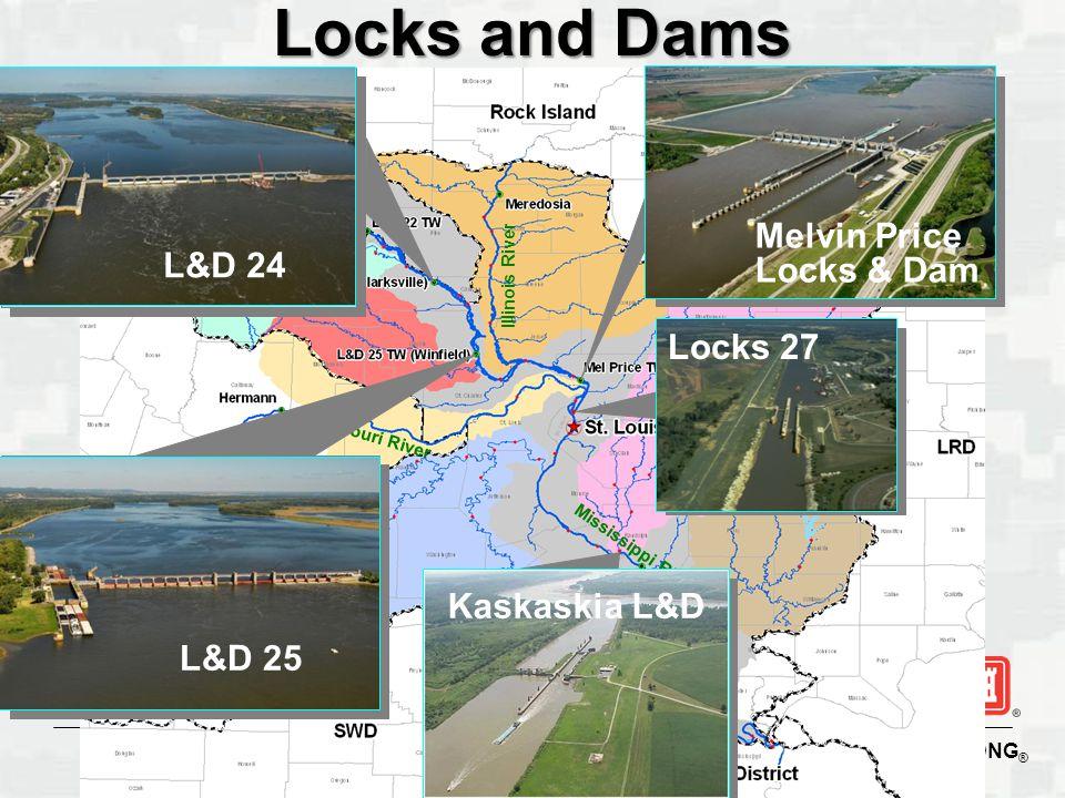 Locks and Dams Melvin Price Locks & Dam L&D 24 Locks 27 Kaskaskia L&D