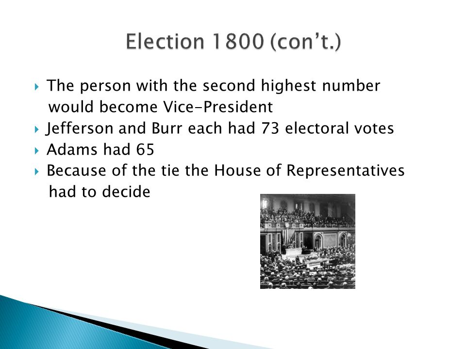 Election 1800 (con't.) The person with the second highest number
