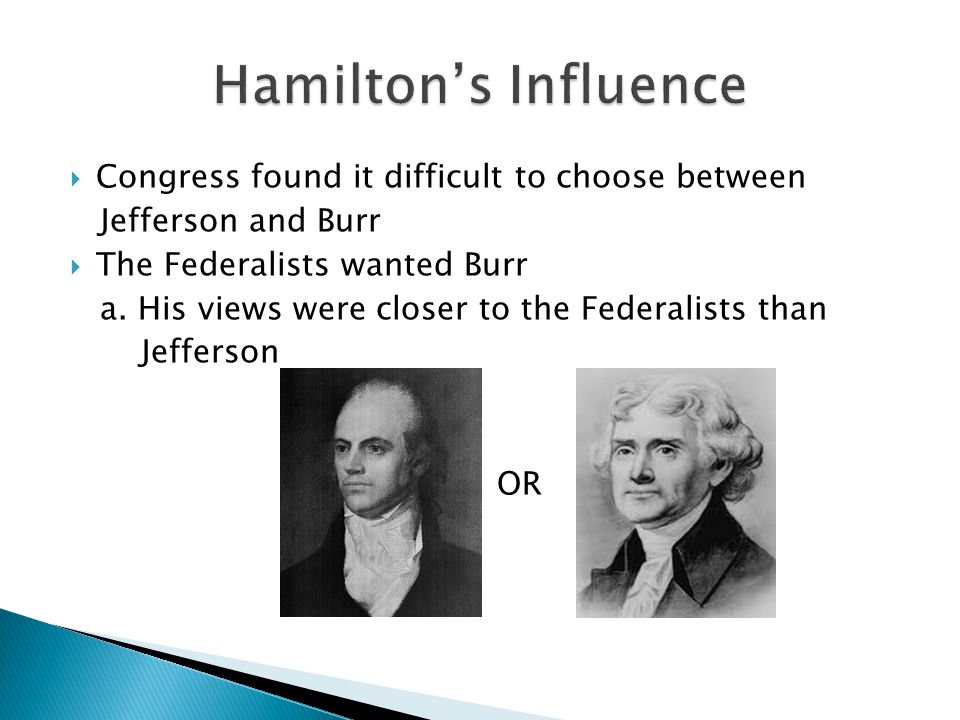 Hamilton's Influence Congress found it difficult to choose between