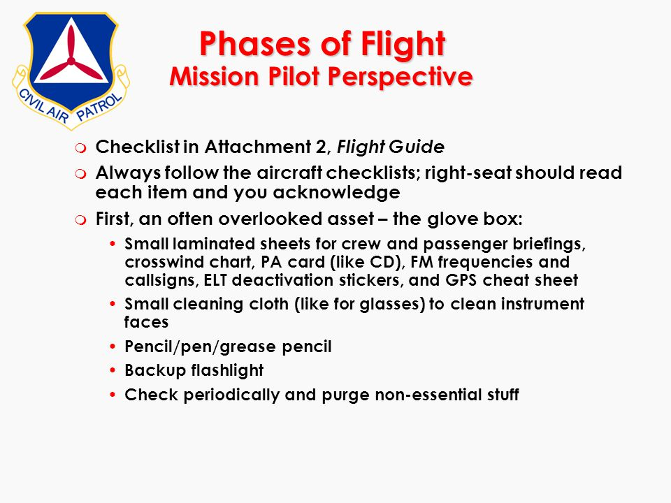 Phases of Flight Mission Pilot Perspective
