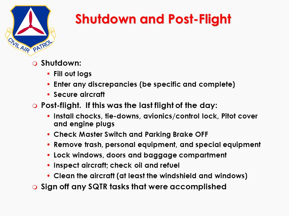 Shutdown and Post-Flight