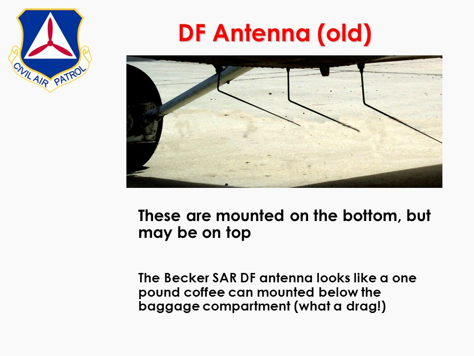 DF Antenna (old) These are mounted on the bottom, but may be on top