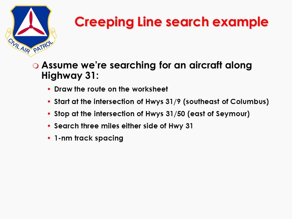 Creeping Line search example