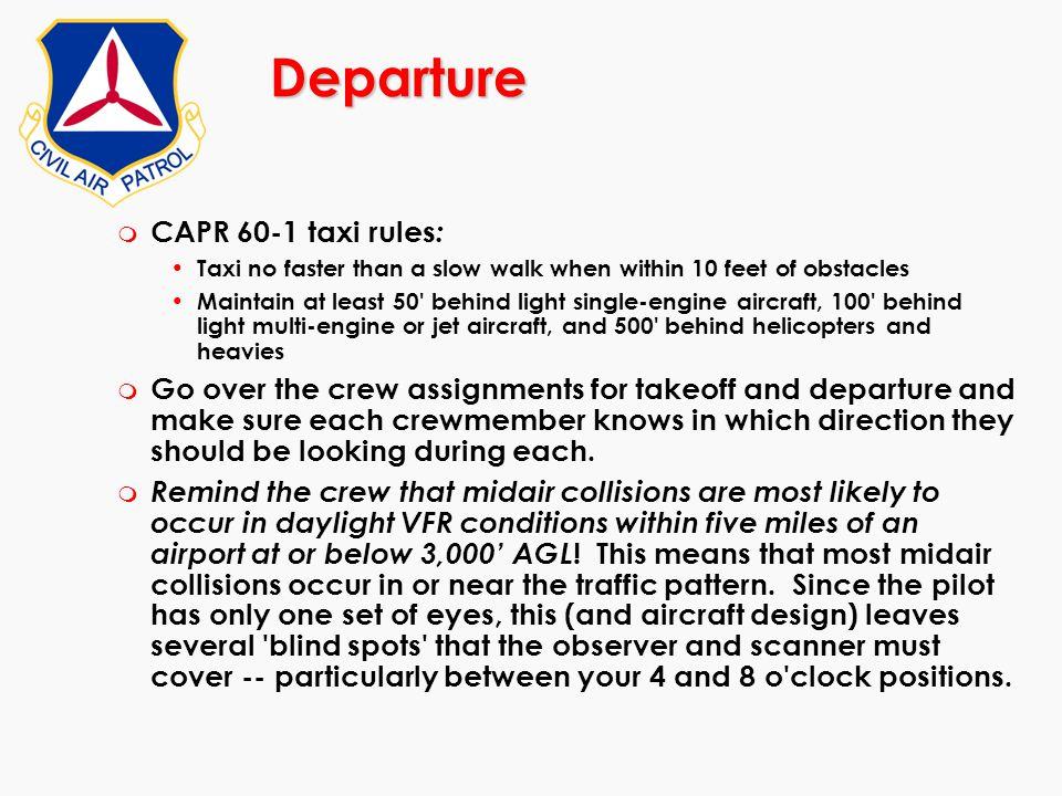 Departure CAPR 60-1 taxi rules: