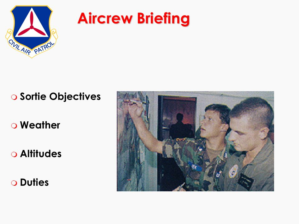 Aircrew Briefing Sortie Objectives Weather Altitudes Duties