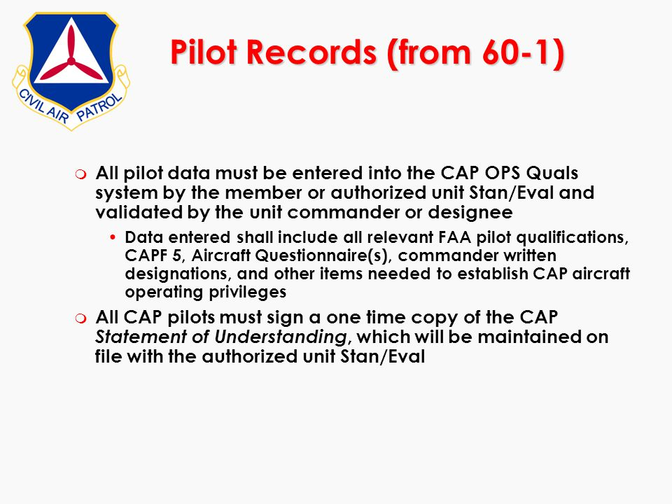 Pilot Records (from 60-1)