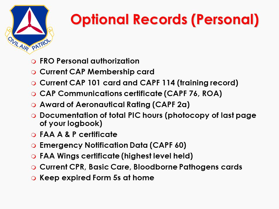 Optional Records (Personal)