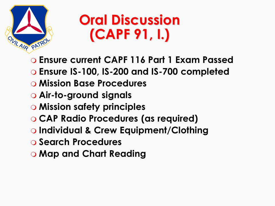 Oral Discussion (CAPF 91, I.)