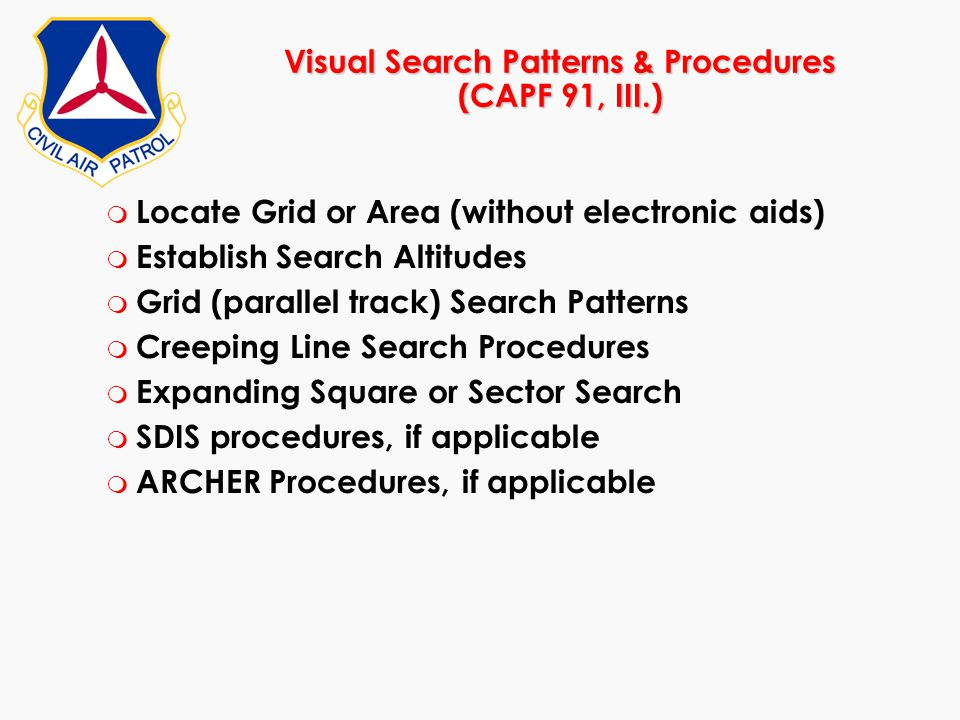Visual Search Patterns & Procedures (CAPF 91, III.)