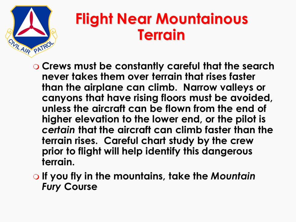 Flight Near Mountainous Terrain