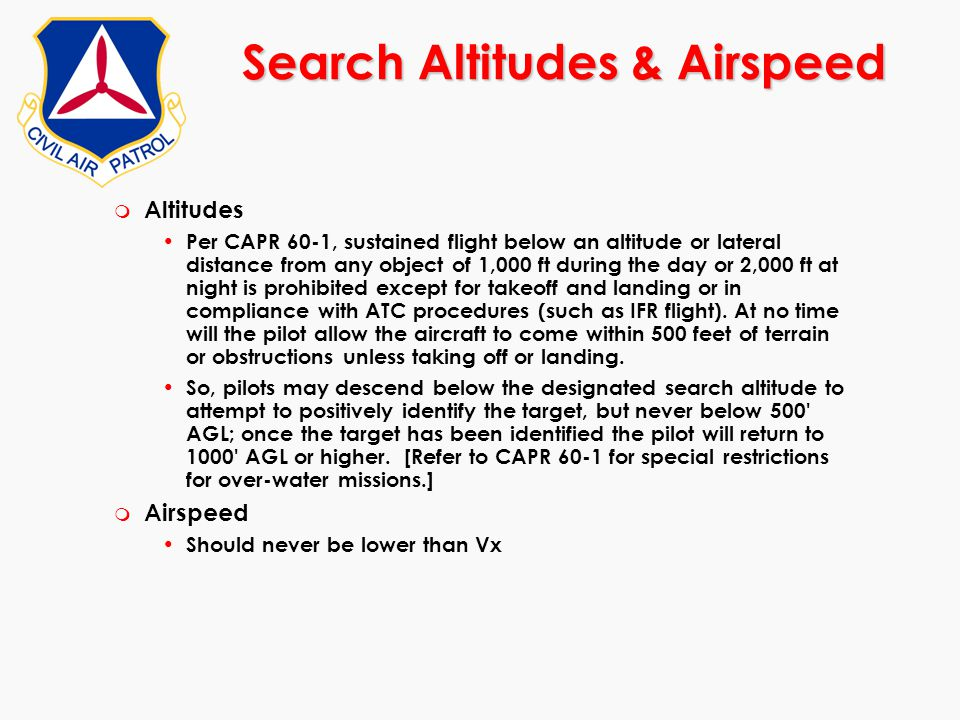 Search Altitudes & Airspeed