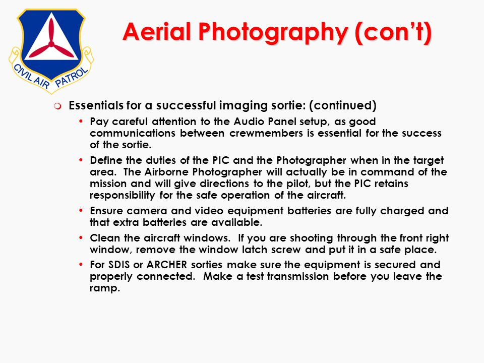 Aerial Photography (con't)