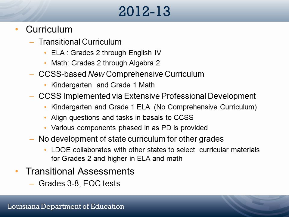 2012-13 Curriculum Transitional Assessments Transitional Curriculum
