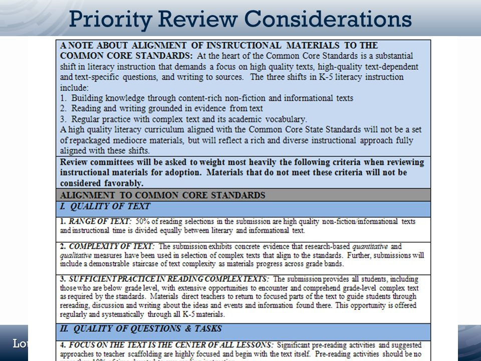Priority Review Considerations