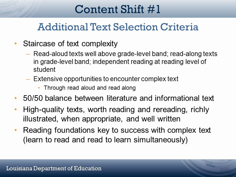 Additional Text Selection Criteria