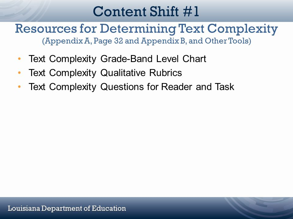 Content Shift #1 Resources for Determining Text Complexity