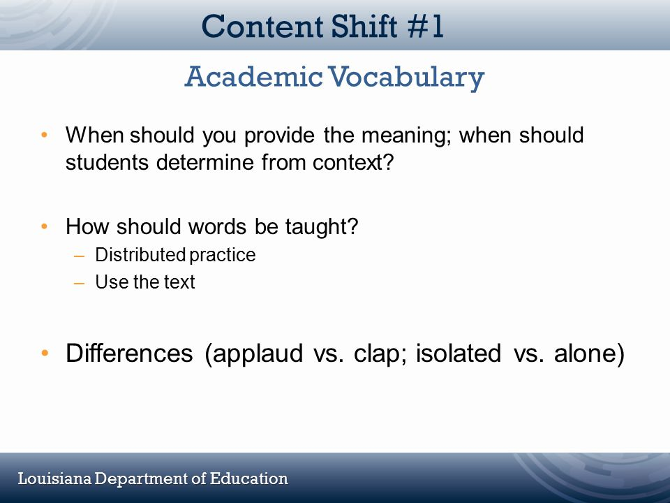 Content Shift #1 Academic Vocabulary