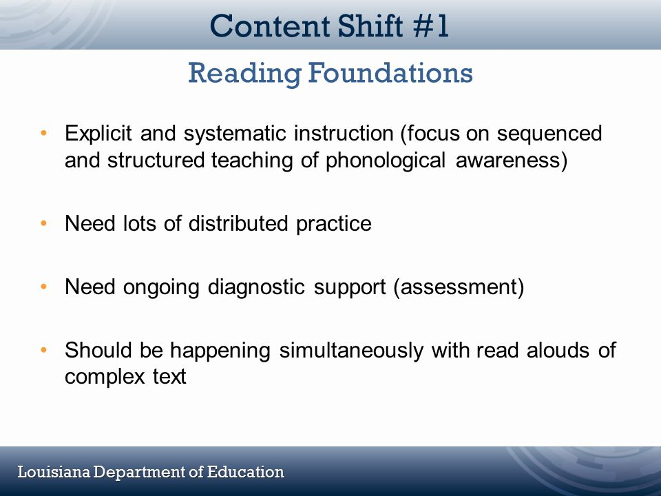 Content Shift #1 Reading Foundations