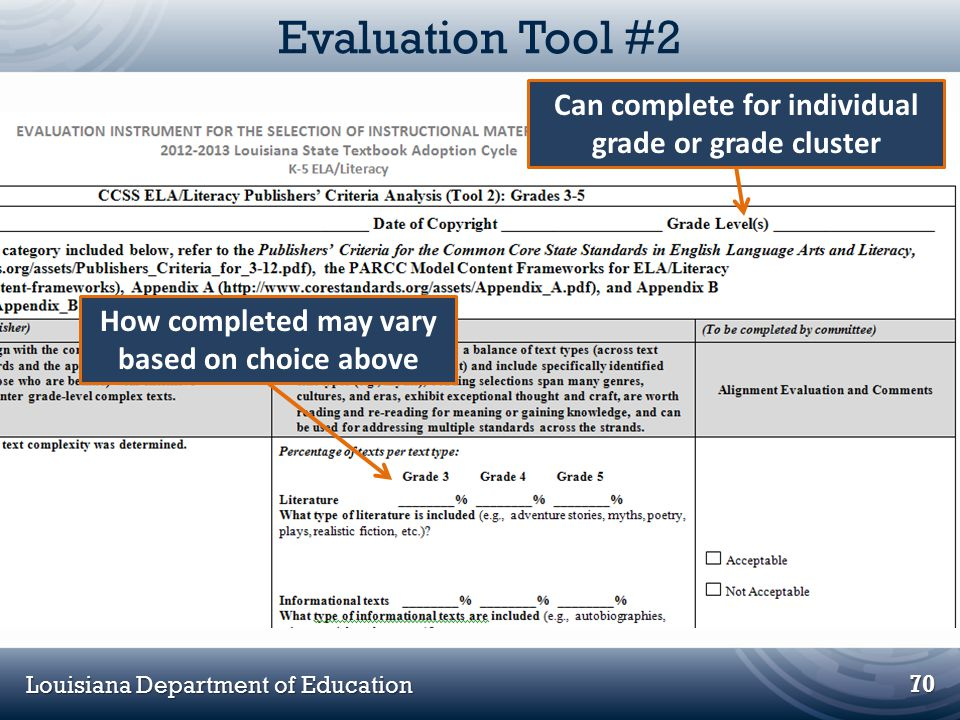 Evaluation Tool #2 Can complete for individual grade or grade cluster