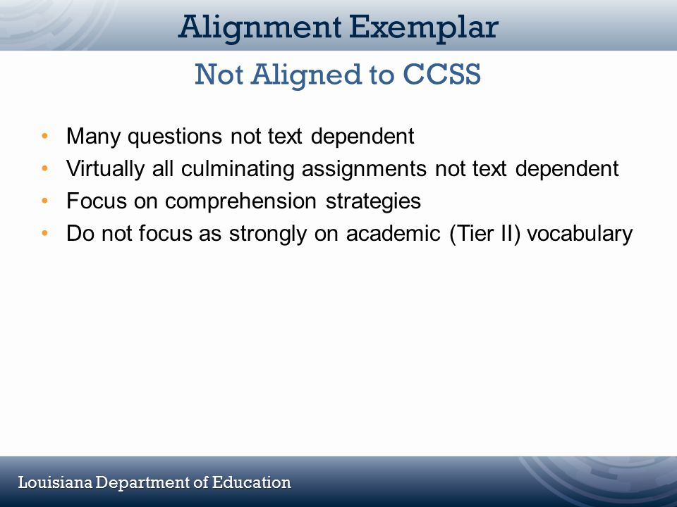 Alignment Exemplar Not Aligned to CCSS