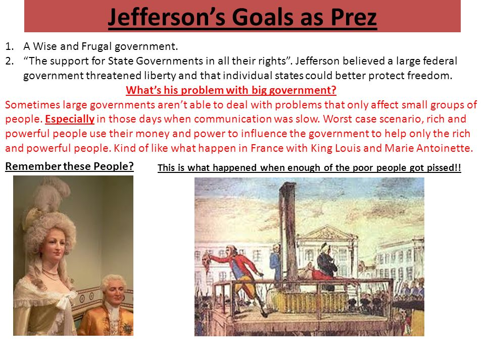 Jefferson's Goals as Prez