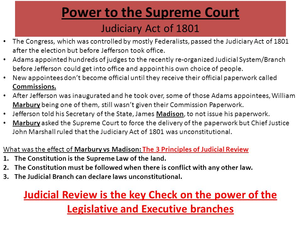 Power to the Supreme Court Judiciary Act of 1801