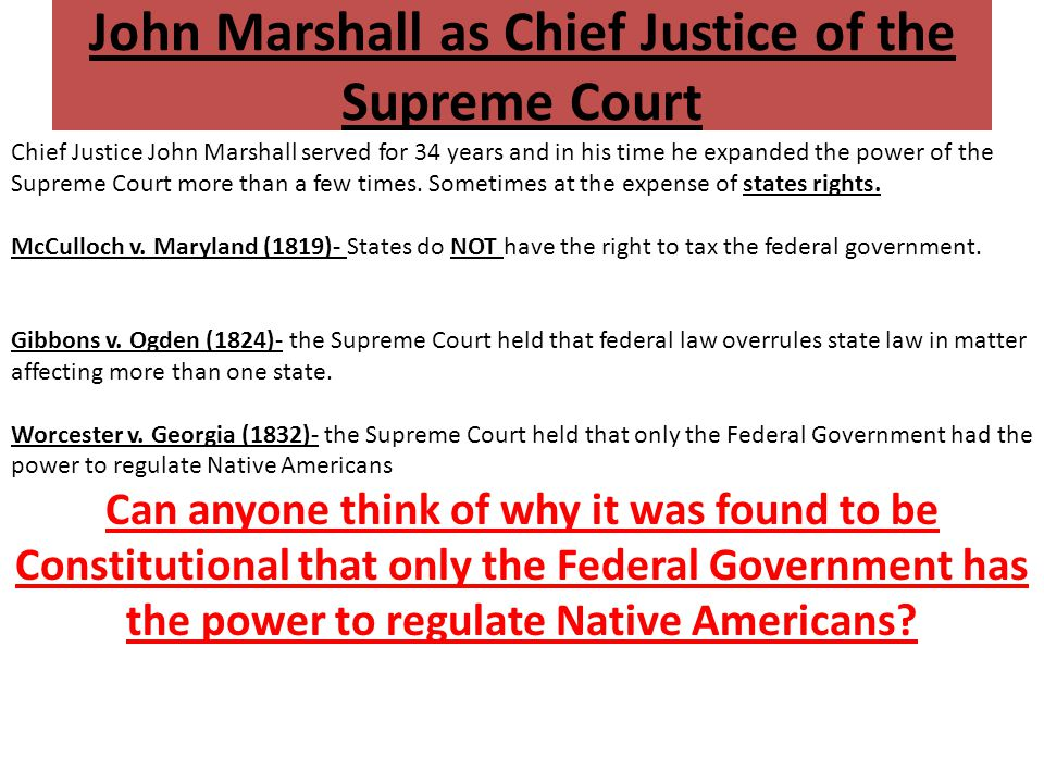 John Marshall as Chief Justice of the Supreme Court
