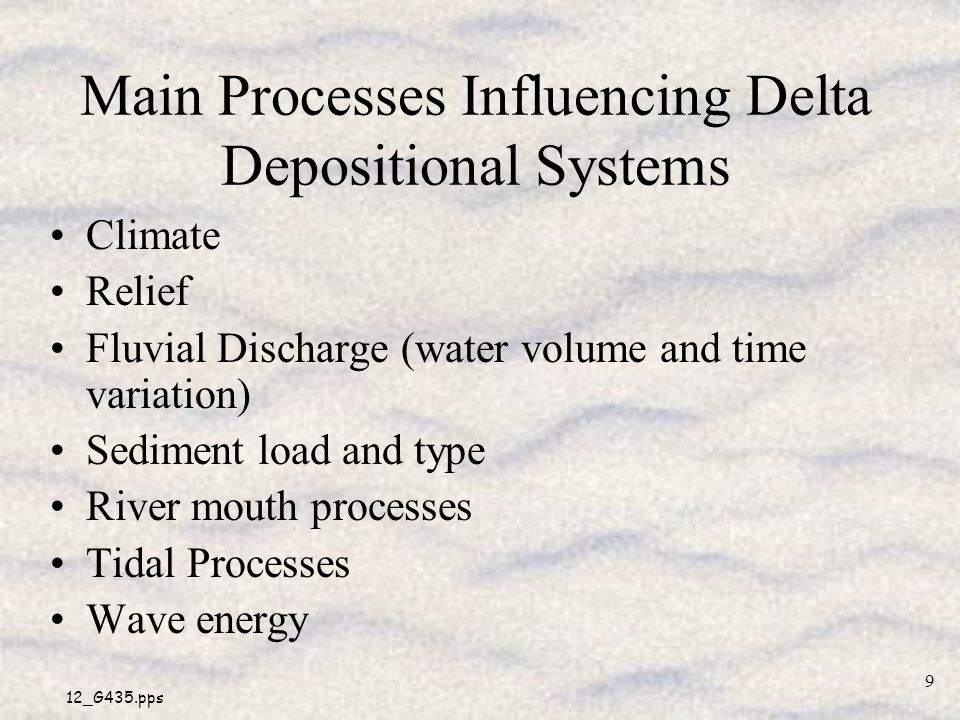 Main Processes Influencing Delta Depositional Systems