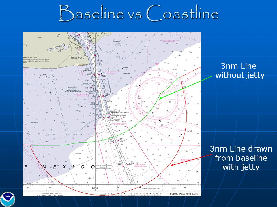 3nm Line drawn from baseline with jetty