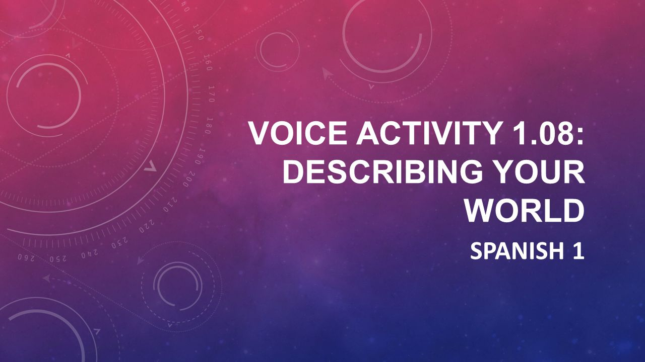Voice Activity 1.08: Describing your world