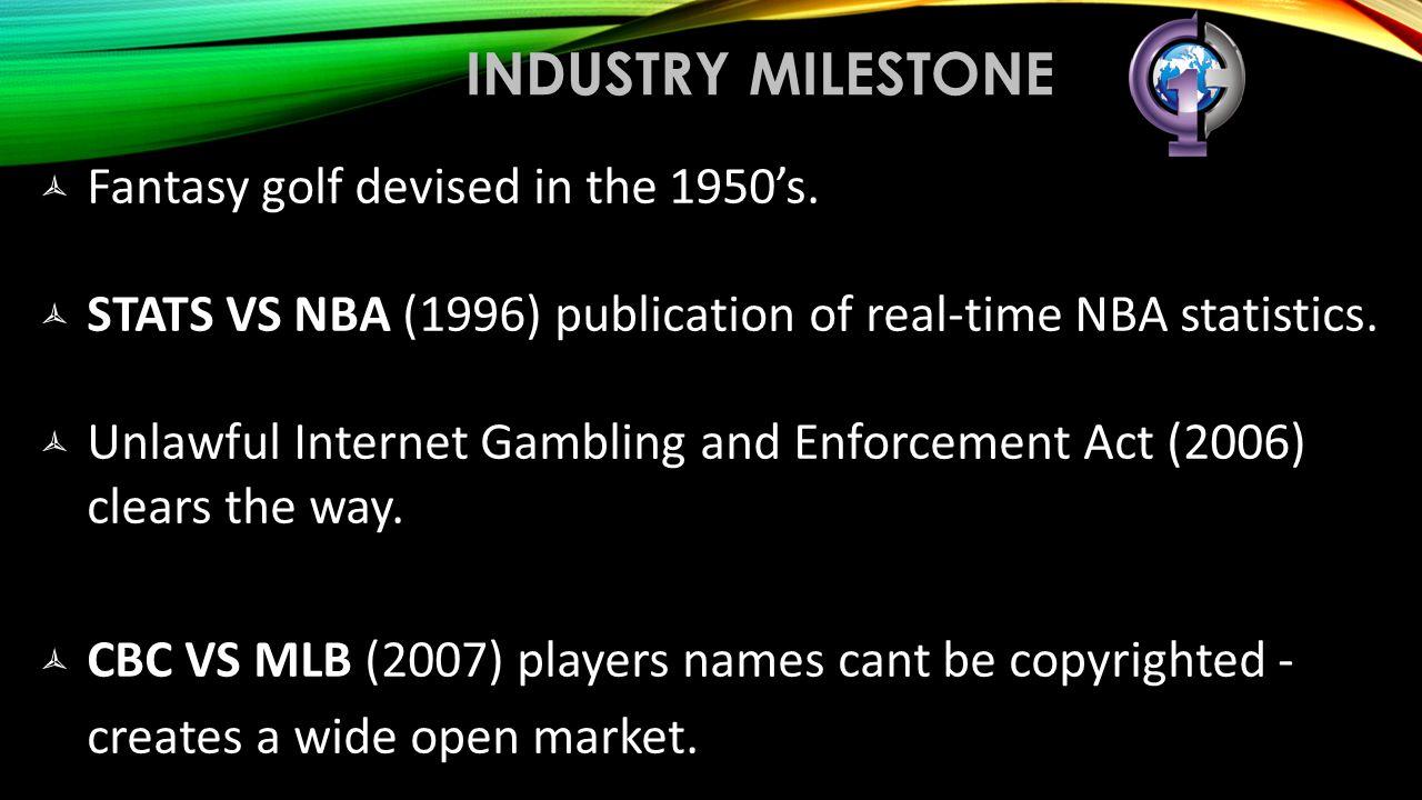 industry milestone Fantasy golf devised in the 1950's.
