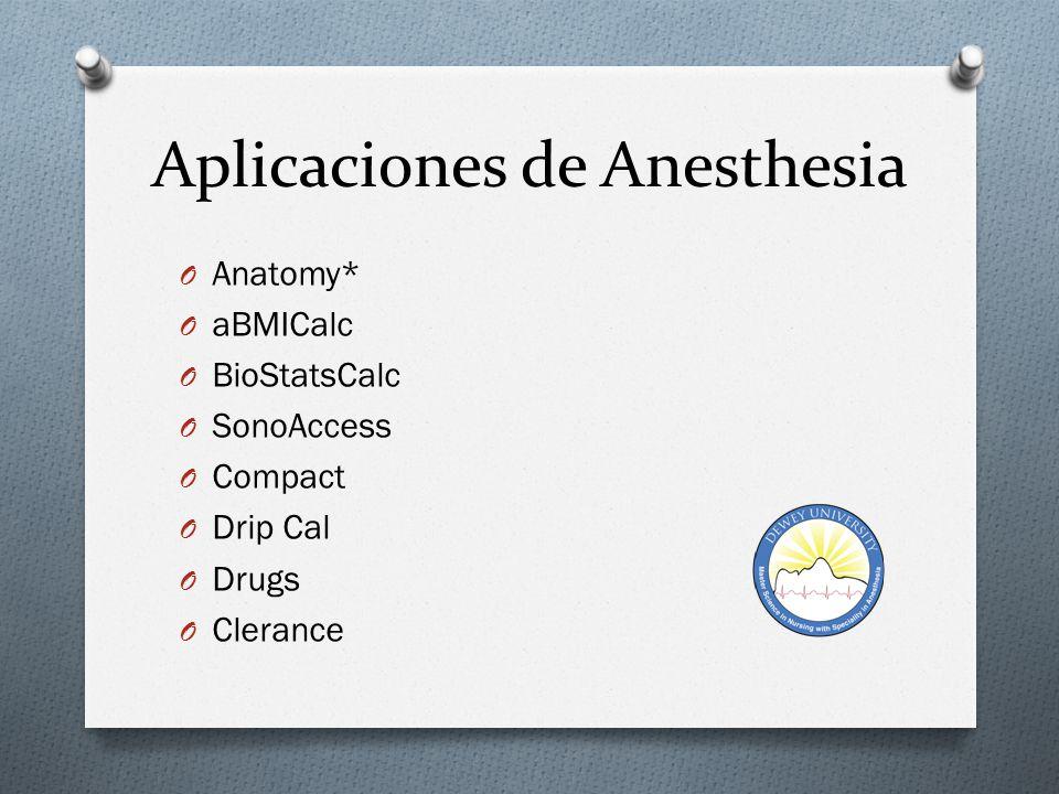 Aplicaciones de Anesthesia