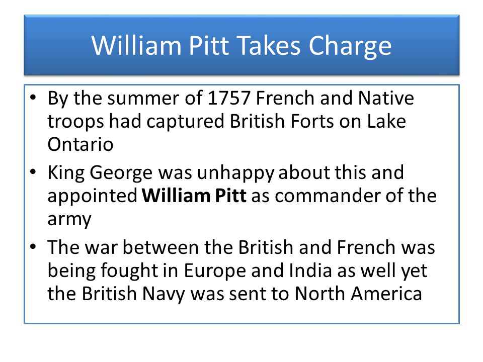William Pitt Takes Charge