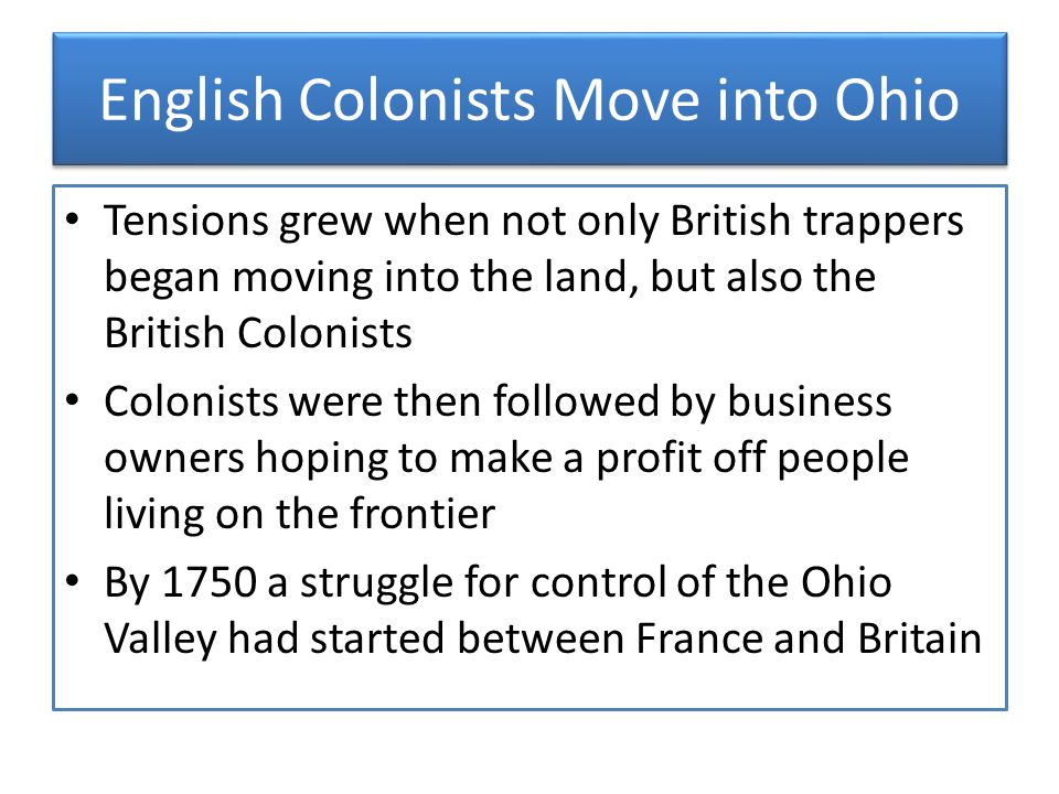 English Colonists Move into Ohio