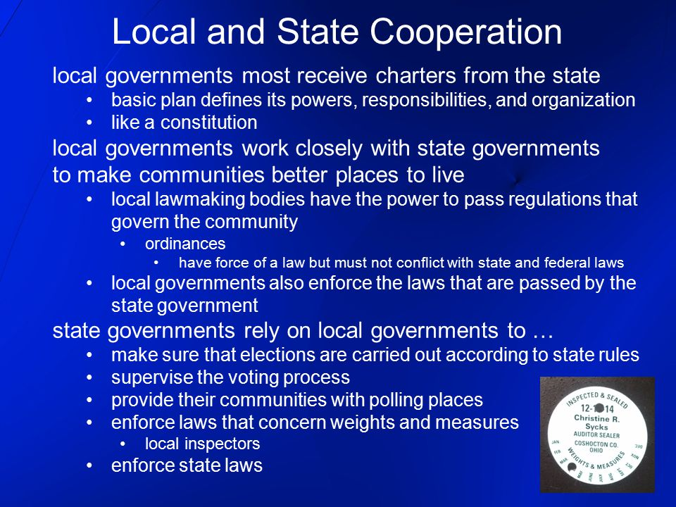 Local and State Cooperation
