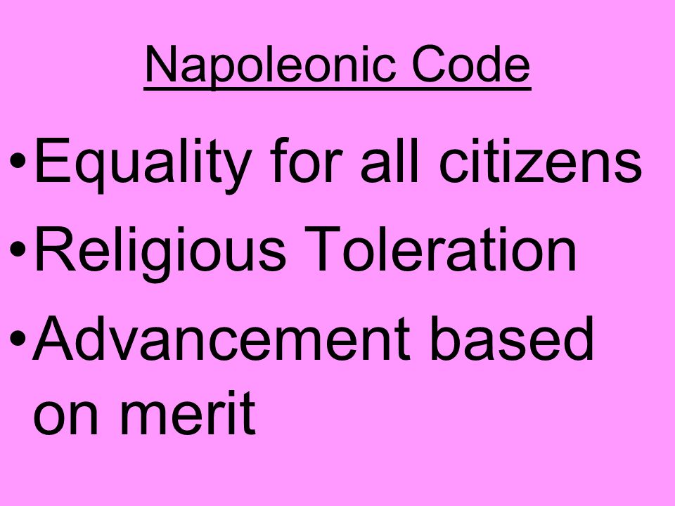 Equality for all citizens Religious Toleration
