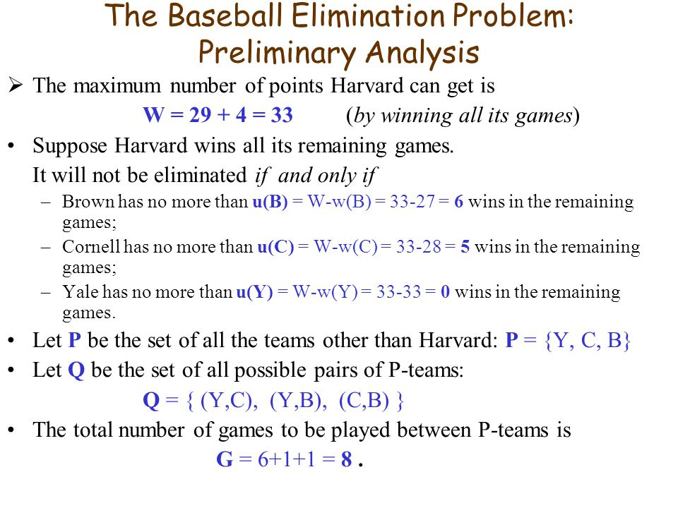 The Baseball Elimination Problem: Preliminary Analysis