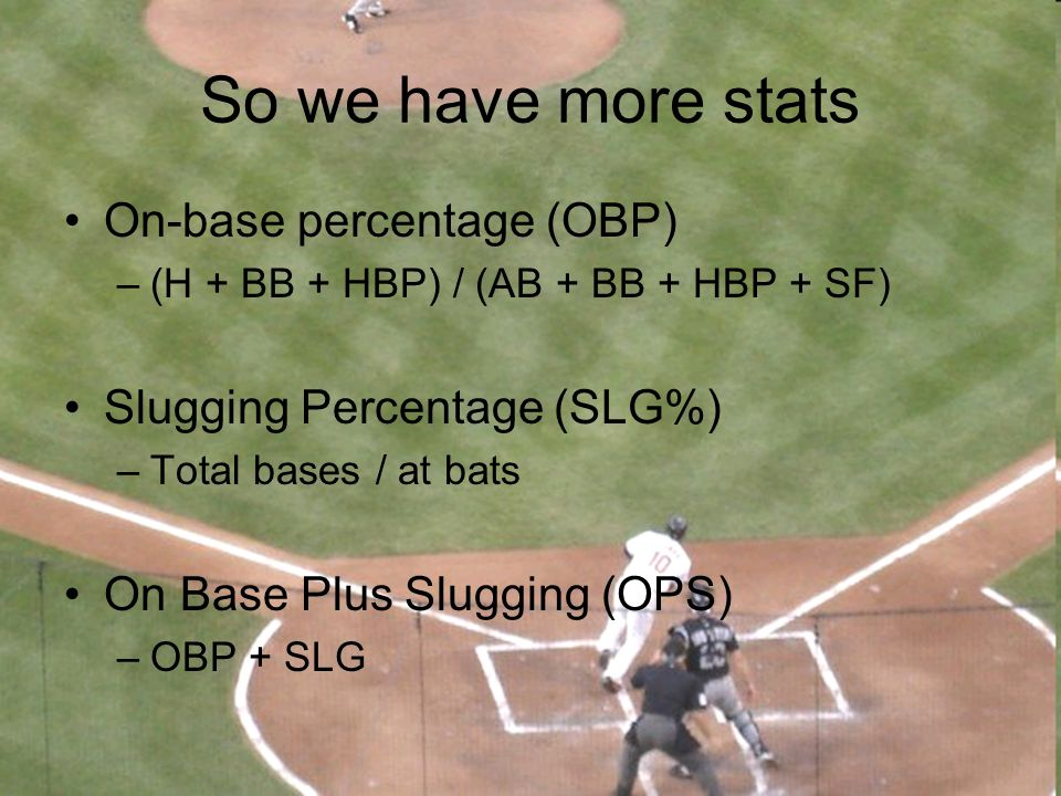 So we have more stats On-base percentage (OBP)
