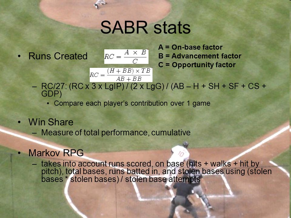 SABR stats Runs Created Win Share Markov RPG
