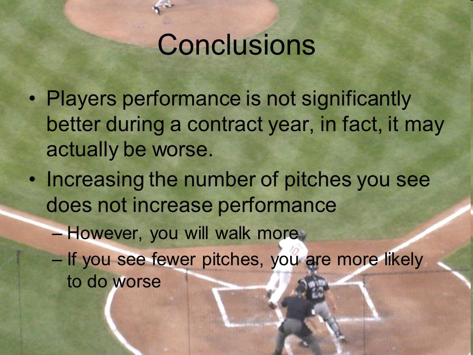 Conclusions Players performance is not significantly better during a contract year, in fact, it may actually be worse.