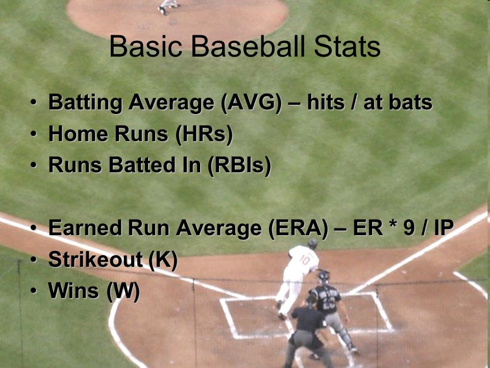 Basic Baseball Stats Batting Average (AVG) – hits / at bats